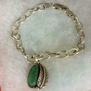 Turquoise pendent chain bracelet